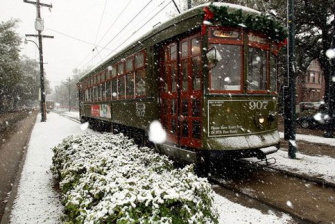 Streetcar in the snow