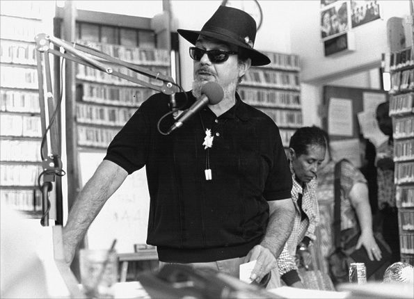 Photo Credit: WWOZ. Dr. John stops by the WWOZ building in Armstrong Park in 1993.
